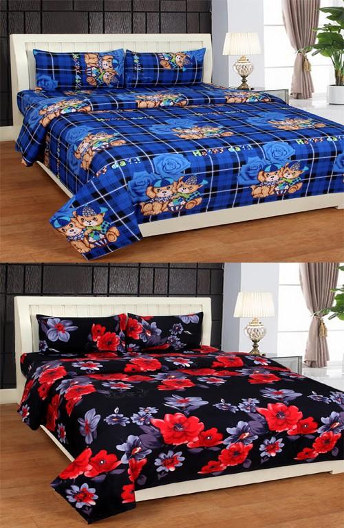 AJ Interior Polycotton 3D Printed Double Bedsheet(Set of 2 Premium PolyCotton Double Bedshhets With 4 Pillow Covers, Multi-Color)