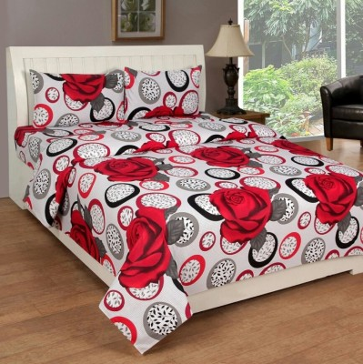 Sparklings Cotton Polka King sized Double Bedsheet