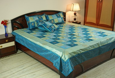 Smile2u Retailers Silk Embroidered King sized Double Bedsheet