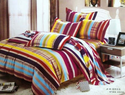 Night Gold Polycotton Striped Double Bedsheet