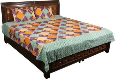 Nitin traders Cotton Striped Double Bedsheet