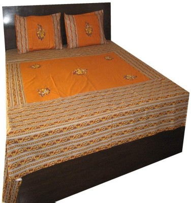 Charu Exports Cotton Embroidered Double Bedsheet