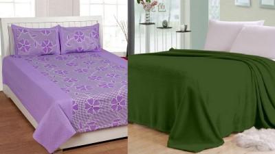 Shopgalore Cotton, Polyester Floral Double Bedsheet