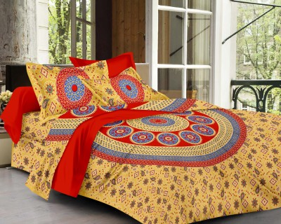 SheetKart Cotton Geometric King sized Double Bedsheet
