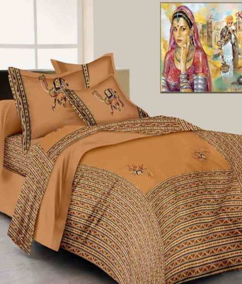 RangRohi Cotton Embroidered King sized Double Bedsheet