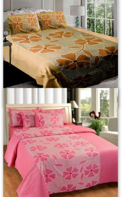 Attractivehomes Cotton Abstract Double Bedsheet
