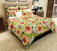 Home Candy Cotton Floral Double Bedsheet(1 Bedsheet, 2 Pillow Covers, Green)