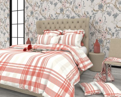 The White Moss Cotton Geometric King sized Double Bedsheet