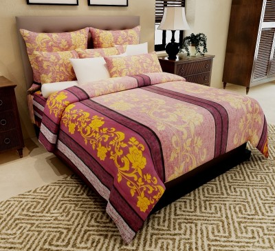 Home Candy Cotton Floral Double Bedsheet(1 Double Bedsheet, 2 Pillow Covers, Yellow, Purple)