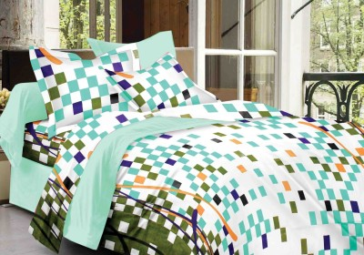 DreamFly Cotton Checkered Double Bedsheet