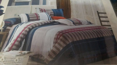 HanuEnterprises Polycotton Striped Double Bedsheet