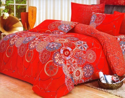 Wrap Polyester Floral Double Bedsheet