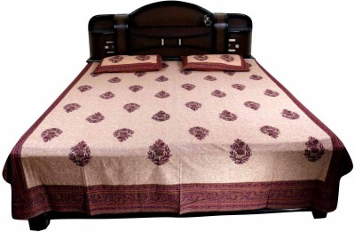 Haat Bazar Cotton Floral King sized Double Bedsheet