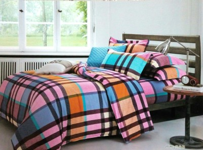 Night Gold Polycotton Checkered King sized Double Bedsheet