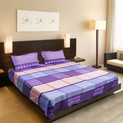Sofitel Cotton Silk Blend Checkered Queen sized Double Bedsheet