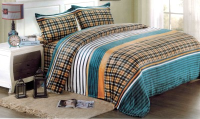 Home Kraft Velvet Checkered Double Bedsheet