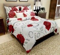 Home Candy Cotton Floral Double Bedsheet(1 Double Bedsheet, 2 Pillow Covers, Grey, Red)