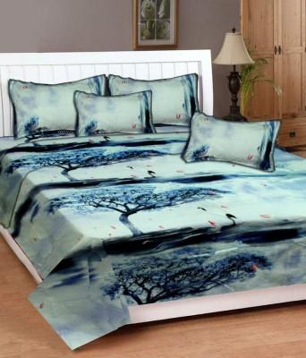 DECO INDIA Cotton Floral Double Bedsheet