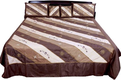 Shilpbazaar Silk Double Bed Cover(Brown, 1 Double Bedcover, 2 Cushion Covers, 2 Pillow Covers)