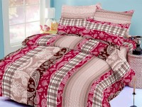 Octane Cotton Abstract Double Bedsheet(1 Bedsheet, 2 Pillow Covers, Maroon)