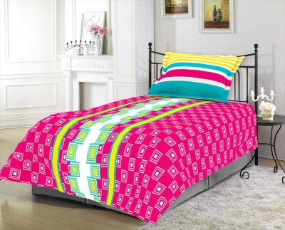 Blush Cotton Checkered Single Bedsheet