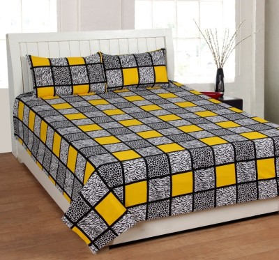Panipat Textile Hub Cotton Checkered Double Bedsheet