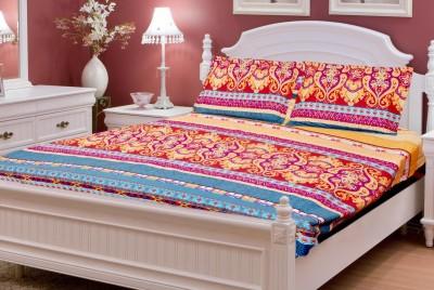 vinaayak Cotton Linen Blend Floral Double Bedsheet