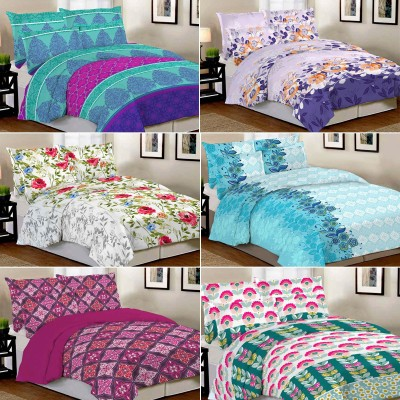Blanc Cotton Printed Double Bedsheet