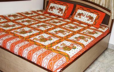 SR Crafts Cotton Animal Double Bedsheet