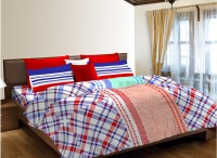 Home Expressions USA Cotton Printed Single Bedsheet(1 Bedsheet, 1 Pillow Cover, Blue, Red, White)