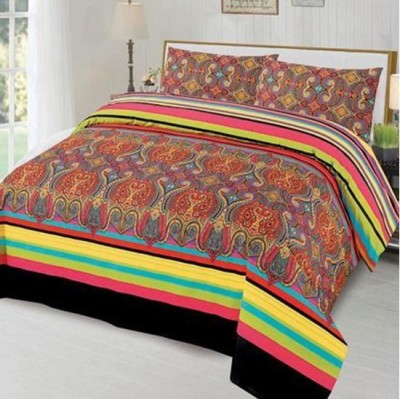 Freakss Cotton Linen Blend Printed King sized Double Bedsheet