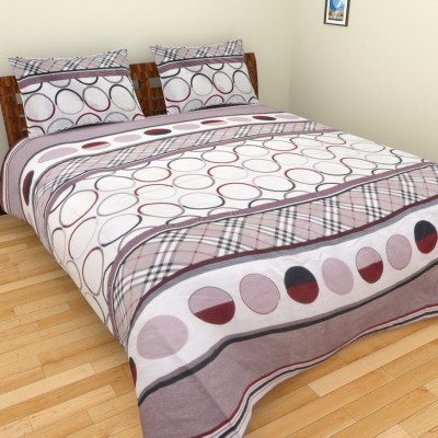 AXCELLENCE Polycotton Geometric King sized Double Bedsheet