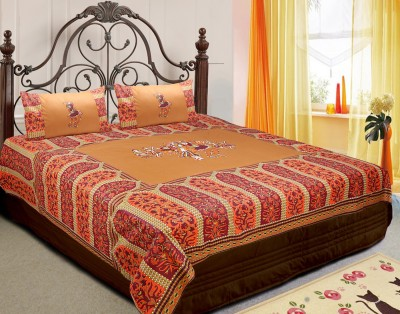 RajasthaniKart Cotton Embroidered King sized Double Bedsheet