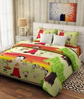 Panipat Textile Hub Cotton Cartoon Double Bedsheet(1 Badsheet 2 Pillow Cover, Multi Chhota Bheem)