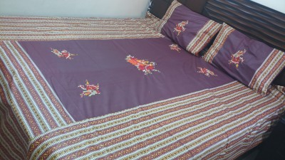 Miracle Furnishings Cotton Embroidered Double Bedsheet