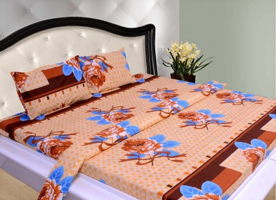 THOIDAM Polycotton Floral Double Bedsheet