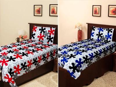 Homefab India Cotton Geometric Single Bedsheet