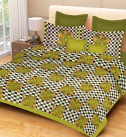 Metro Living Cotton Floral Double Bedsheet(1 Double Bed Sheet, 2 Pillow Covers, Green)