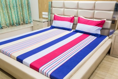 Gama Amor Cotton Striped Queen sized Double Bedsheet