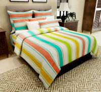 Home Candy Cotton Striped Double Bedsheet(1 Double Bedsheet, 2 Pillow Covers, Multicolor)