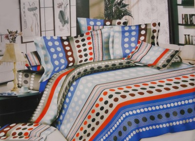 Pripson Polyester Geometric Double Bedsheet