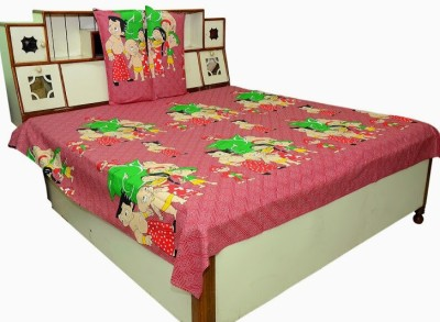Shree Creations Cotton Abstract Queen sized Double Bedsheet