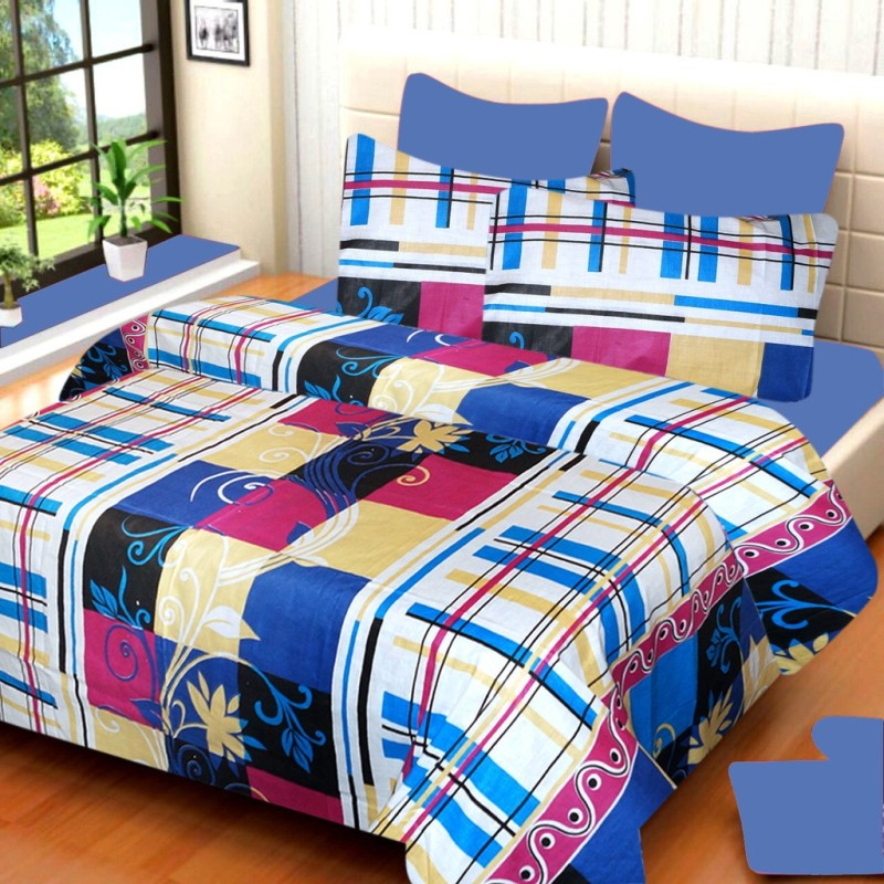 IWS Cotton Printed Double Bedsheet(1 Double Bedsheet, 2 Pillow Covers,...