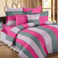 Story@Home Cotton Abstract Double Bedsheet(1 Double Bedsheet With 2 Pillow Covers, Grey)