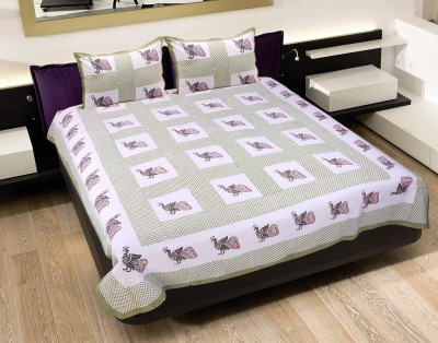 Jaipur Fab Cotton Checkered Queen sized Double Bedsheet