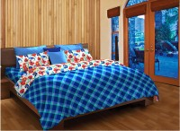 Home Expressions USA Cotton Checkered Single Bedsheet(1 Bedsheet, 1 Pillow Cover, Blue)