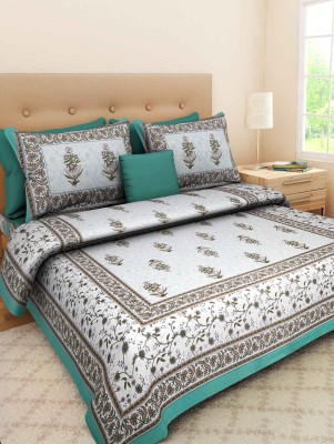 Kanhaa Cotton Floral King sized Double Bedsheet