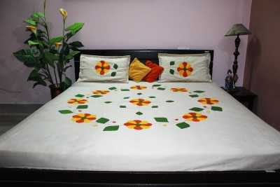 Eco Haat Cotton Floral King sized Double Bedsheet