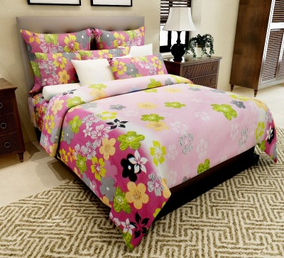 Home Candy Cotton Floral Double Bedsheet(1 Double Bedsheet, 2 Pillow Covers, Multicolor)