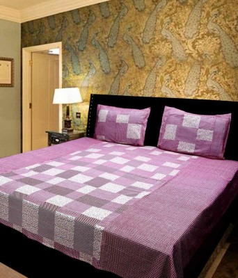 Ridhaan Cotton Checkered Double Bedsheet